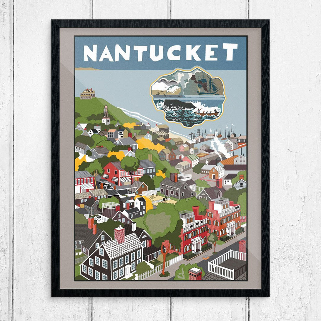 Nantucket Village Vintage Travel Poster Print