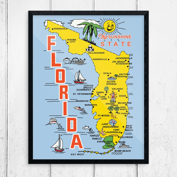 Vintage Florida The Sunshine State Travel Poster