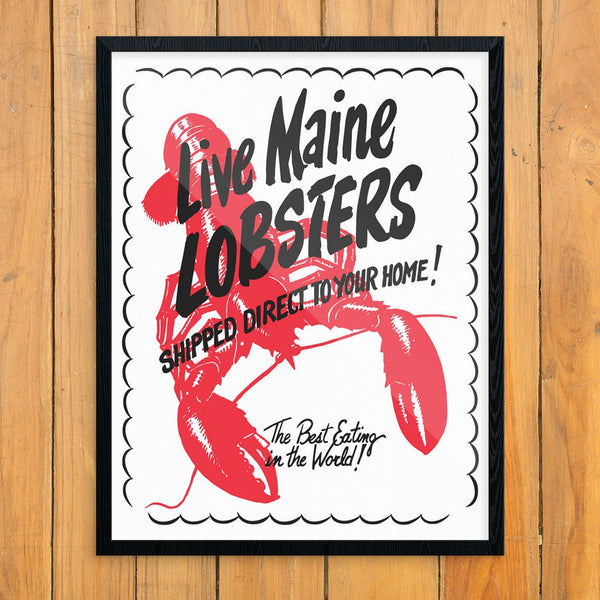Live Maine Lobsters Retro 11 x 14 Print