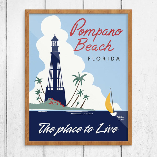 Vintage Pompano Beach Florida, the Place to Live, Print