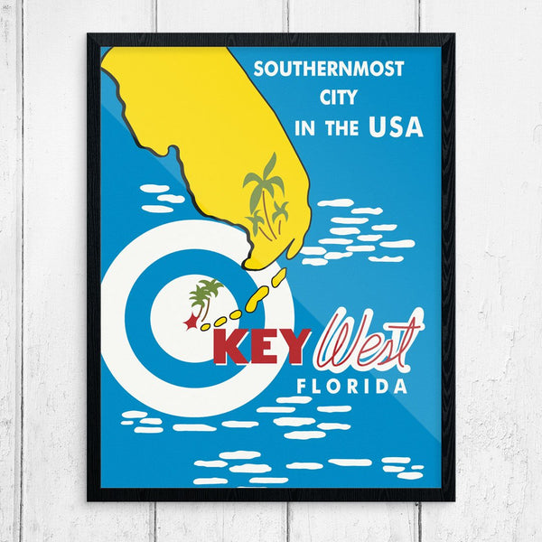 Key West Florida, The Southernmost City, Vintage Style Print