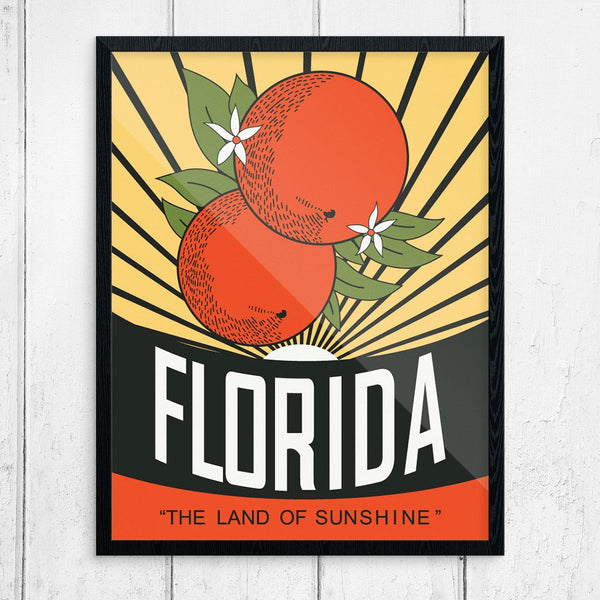 Florida Oranges Vintage Travel Poster