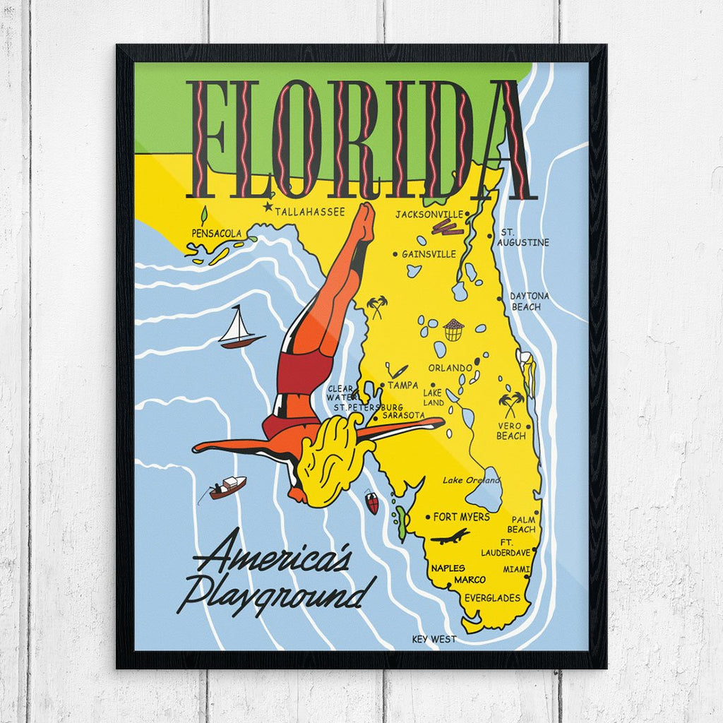 Florida America's Playground Vintage Travel Poster Map