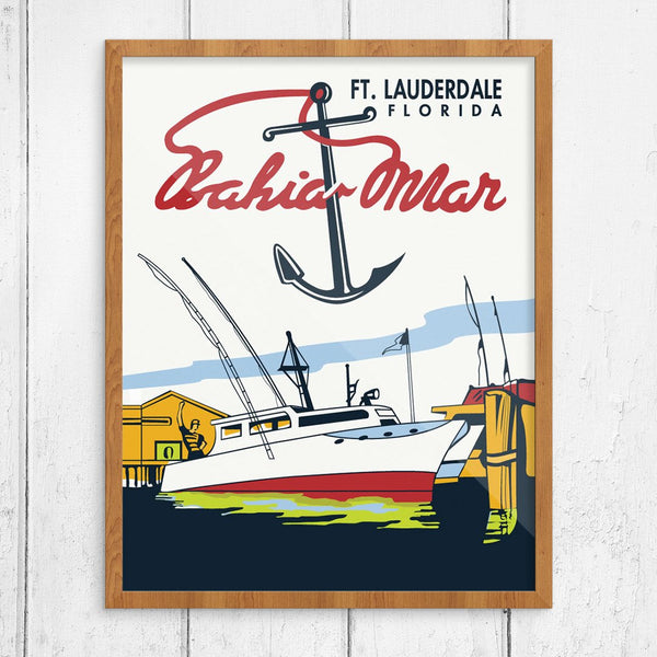 Bahia Mar Fort Lauderdale Vintage Travel Poster