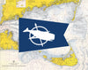 Nantucket Whale Flag & Nautical Chart Magnet