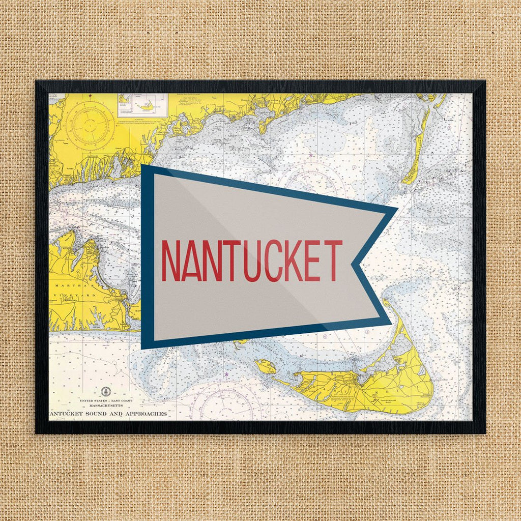 Nantucket Red & Blue Flag Nautical Chart Print