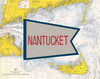 Nantucket Red & Blue Flag Nautical Chart Magnet