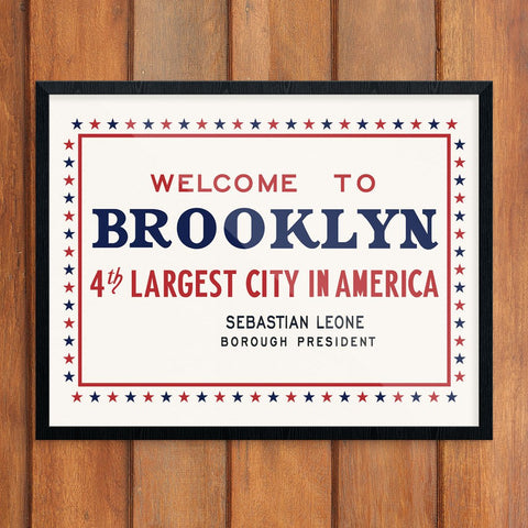 Welcome to Brooklyn 4th Largest City Sign Print
