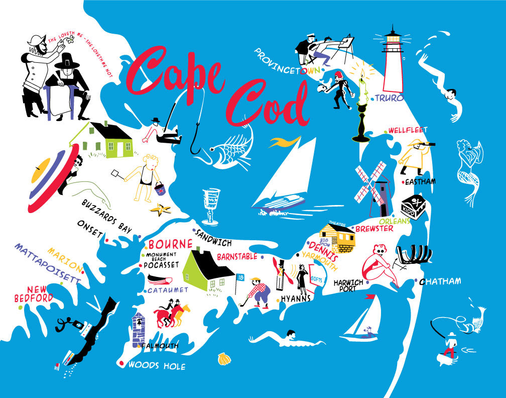 Cape Cod 50's Colorful Map Magnet
