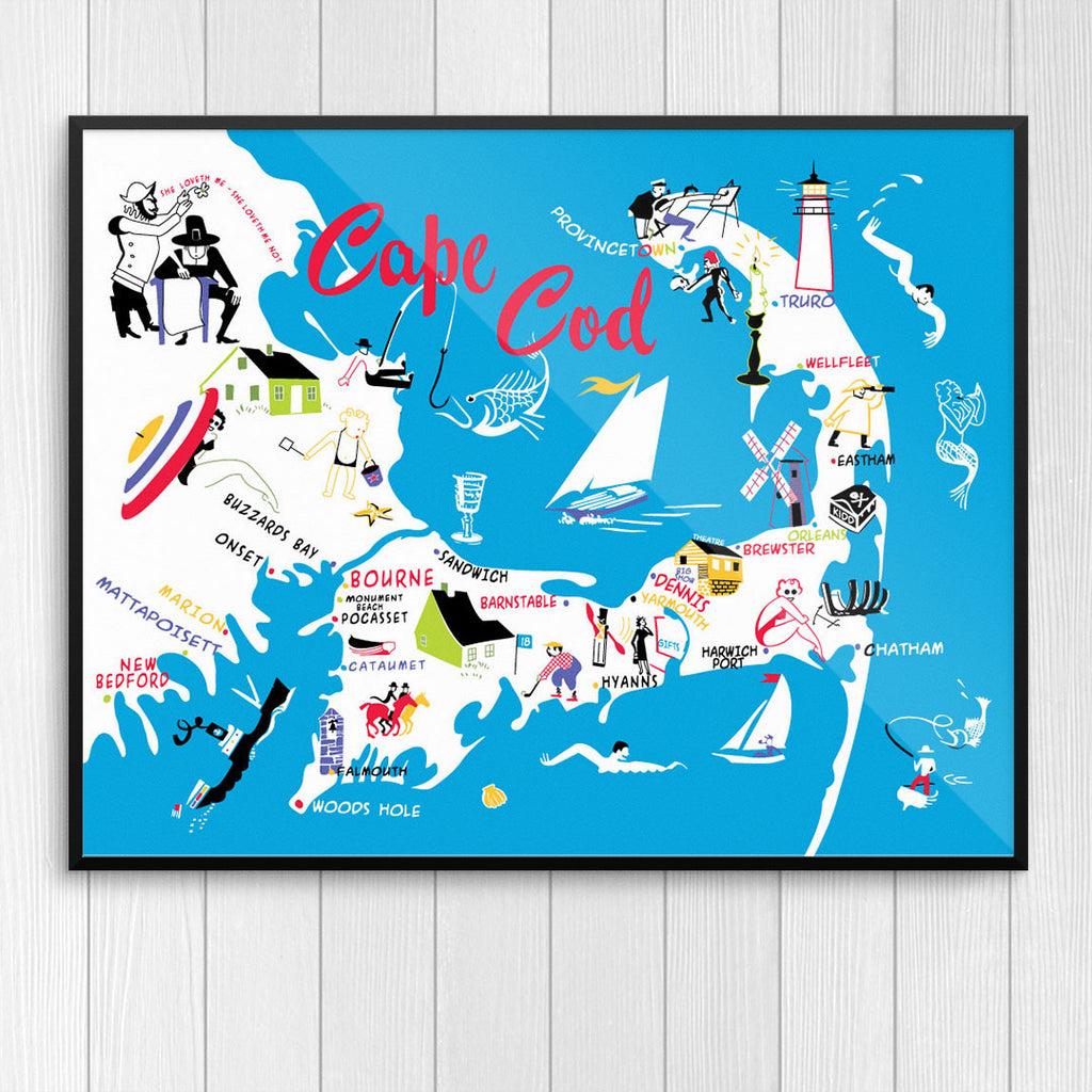 Cape Cod 50's Colorful Map 12 x 18 Print