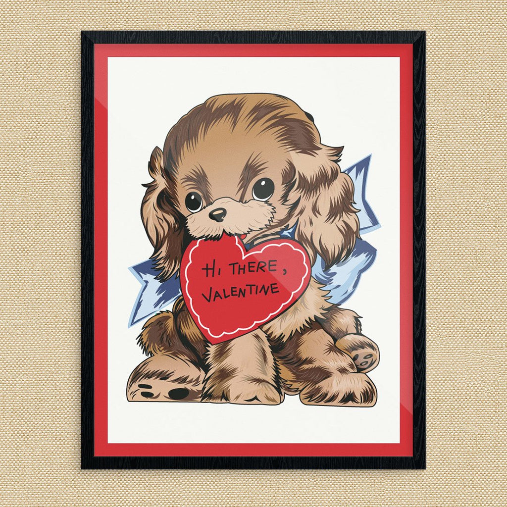 Hi There Valentine Cute Dog Print