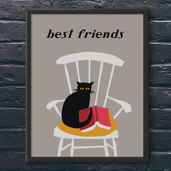 Best Friends Cat & Book Print