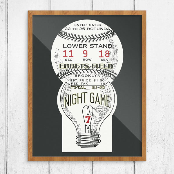Brooklyn Dodgers Ebbets Field Night Game Ticket Print