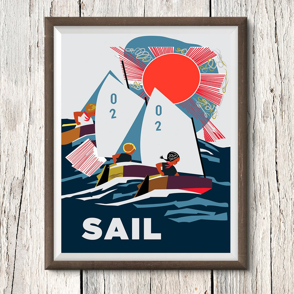 Sail Optimists 11 x 14 Print