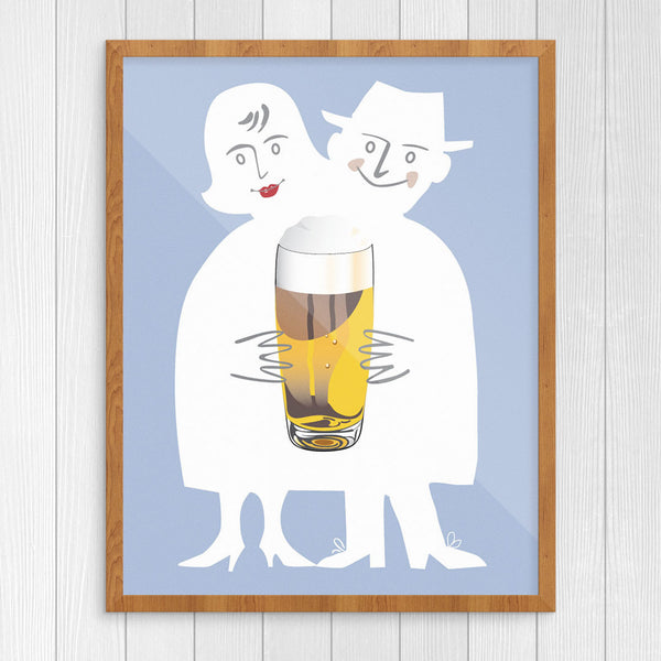 Beer Loving Couple Print
