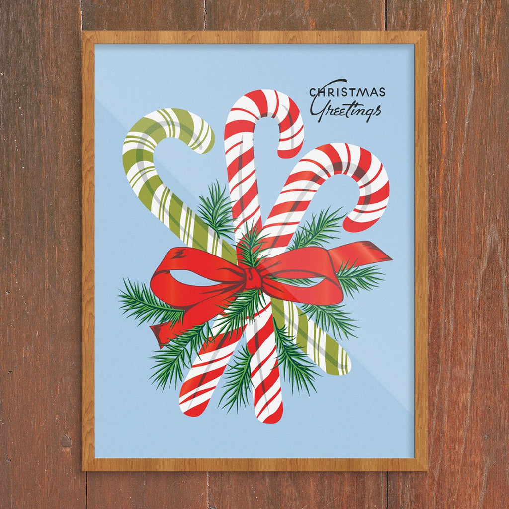 Christmas Greetings Candy Canes 11 x 14 Print