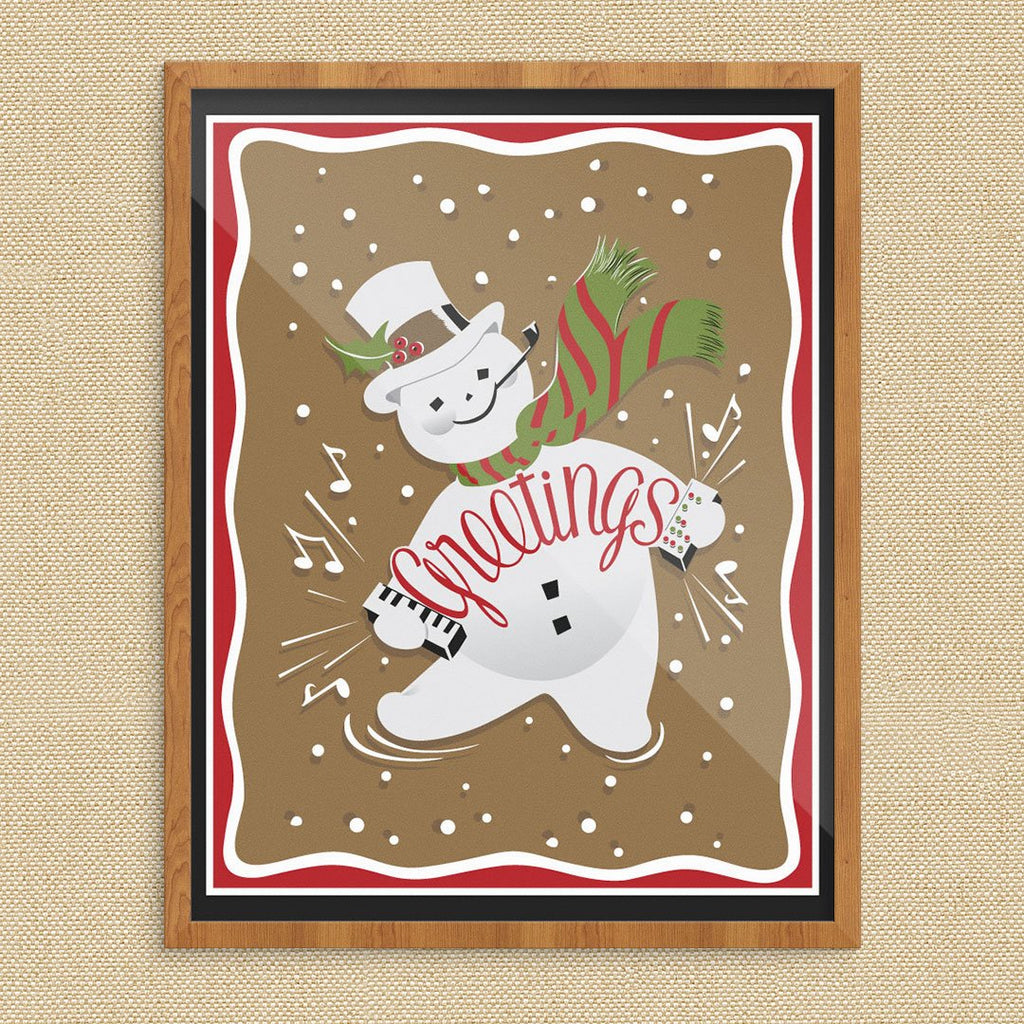 Snowman Accordian Holiday Greetings 11 x 14 Print