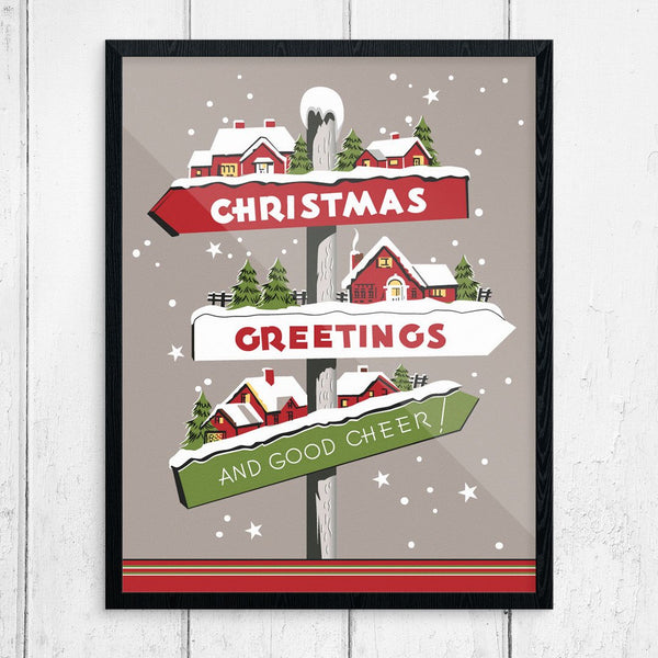 Christmas Greetings & Holiday Cheer! Signpost Print