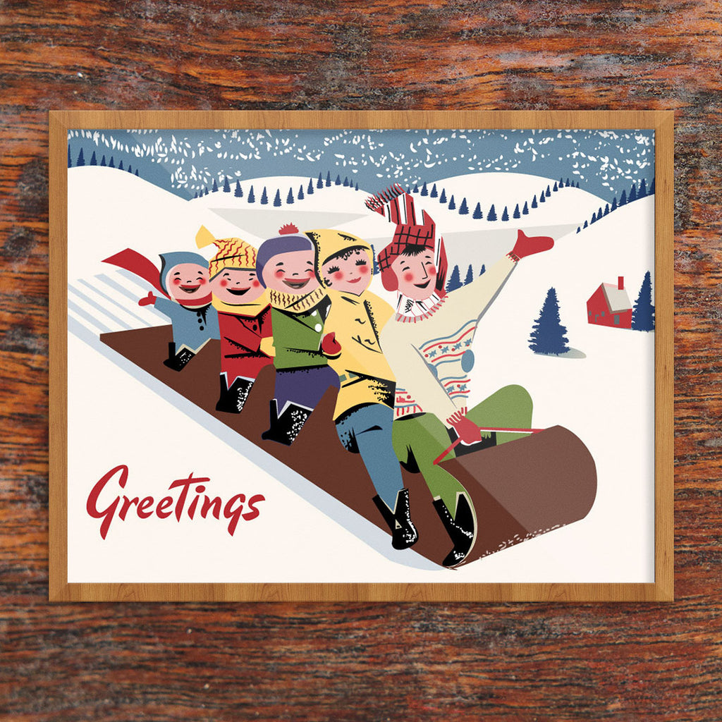 Toboggan Fun Greetings 11 x 14 Print