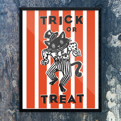 Halloween Trick or Treat Dancing Cat Print