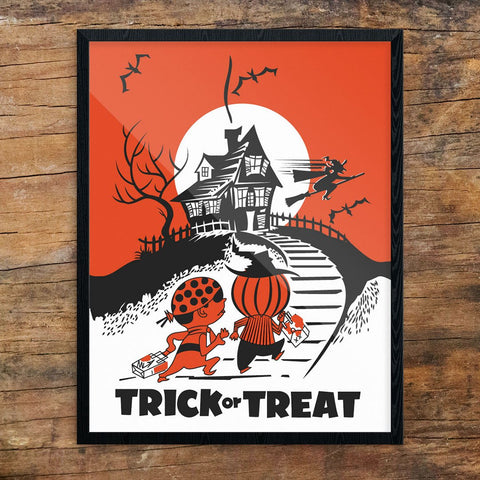 Halloween Trick or Treat Haunted House Print