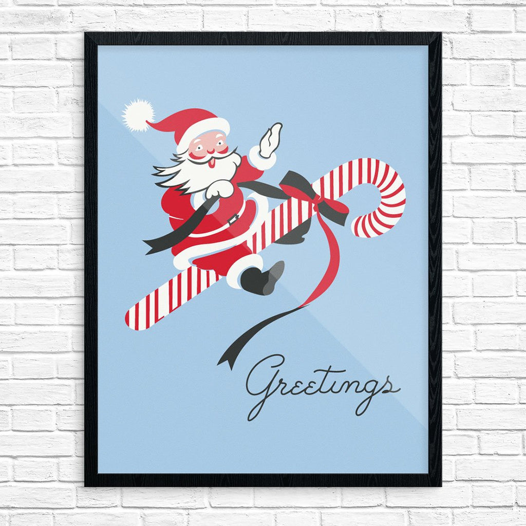Santa Candy Cane Greetings Print
