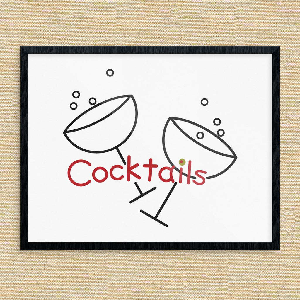 Toasting Cocktails Glasses 11 x 14 Print
