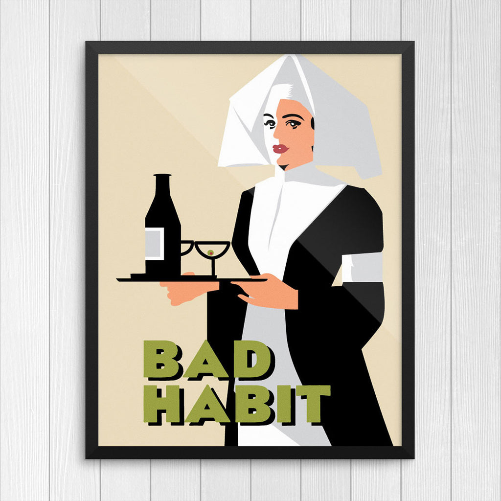 Bad Habit Drinking Nun Print