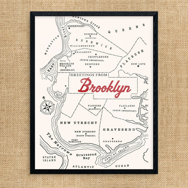 Vintage Brooklyn New York Map