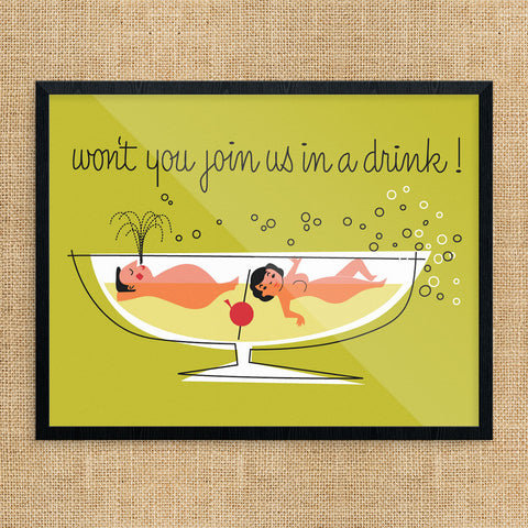 Won't You Join Us In a Drink 11 x 14 Print