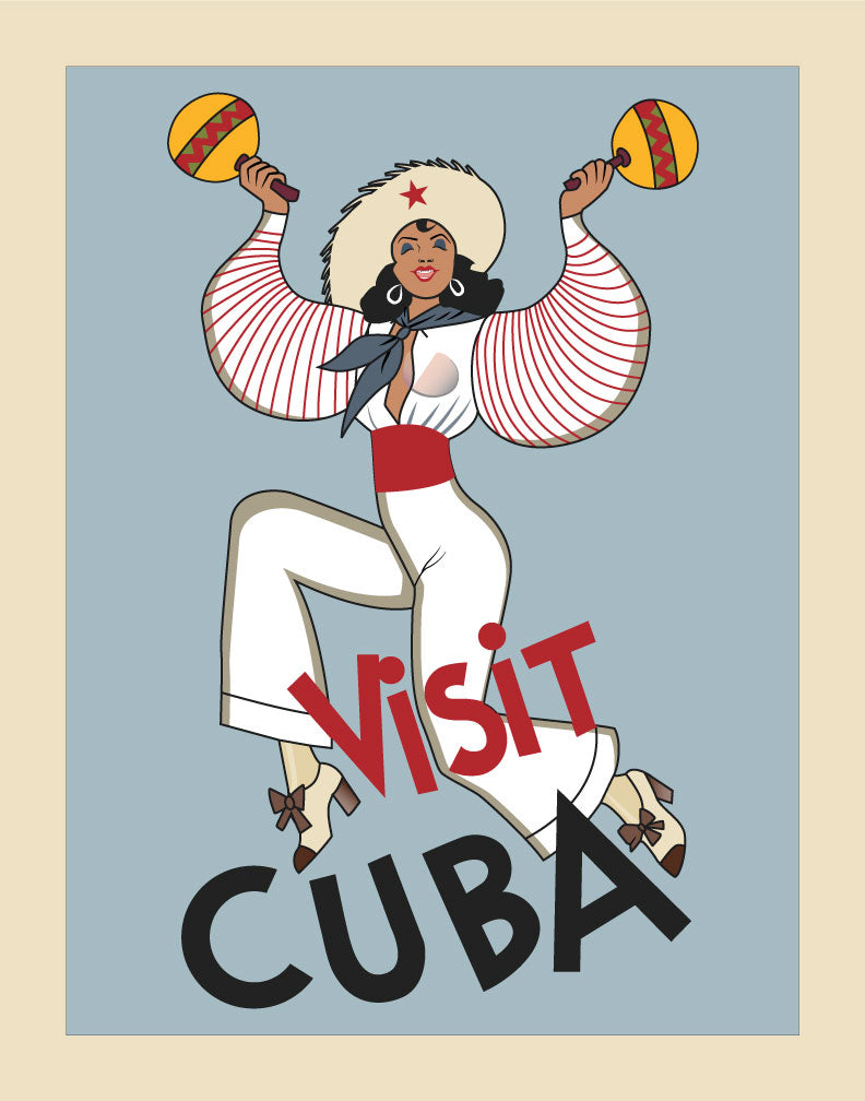 Visit Cuba Dancer Travel Poster Magnet