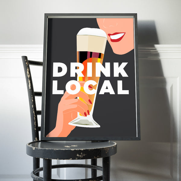 Drink Local Beer 11 x 14 Print