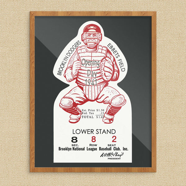 Vintage Ebbets Field Opening Day Ticket Print