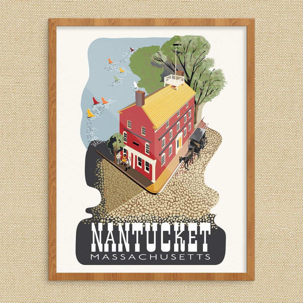 Nantucket Pacific Club Building & Sailboats Travel Poster Print
