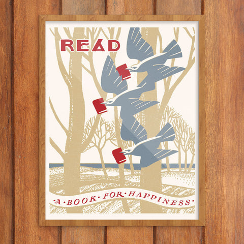 Read A Book For Happiness 11 x 14 Print