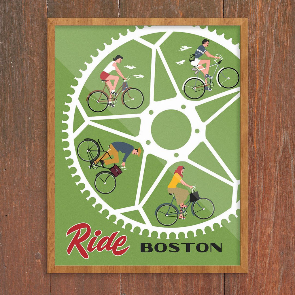 Ride Boston Bike Wheel Riders 11 x 14 Print