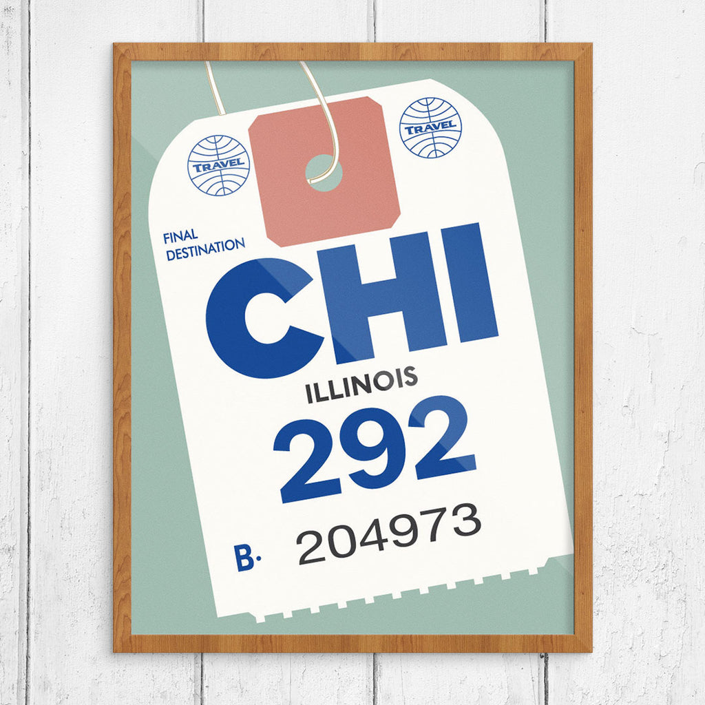 Chicago Luggage Tag 11 x 14 Print