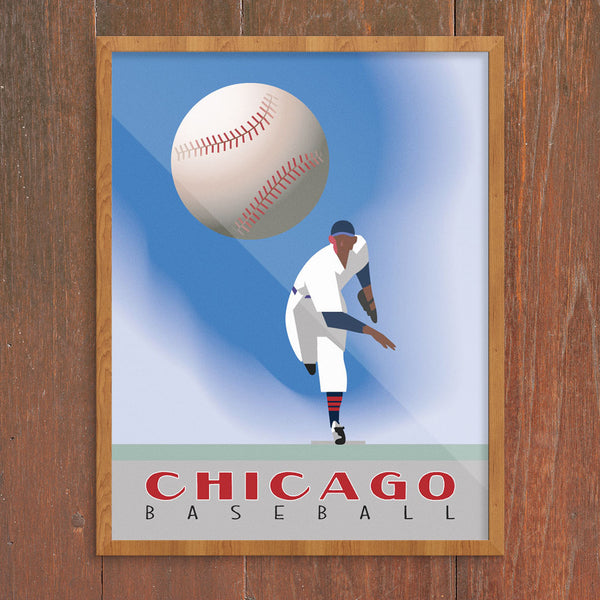 Chicago Baseball Pitcher 11 x 14 Print