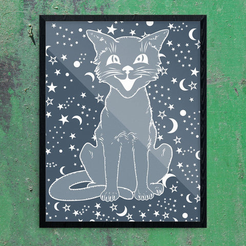 Vintage Halloween Cat on Navy Print