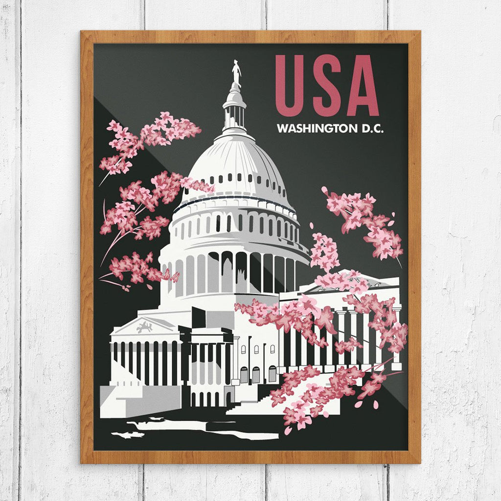 Washington DC Capital Building & Cherry Blossoms Travel Poster Print