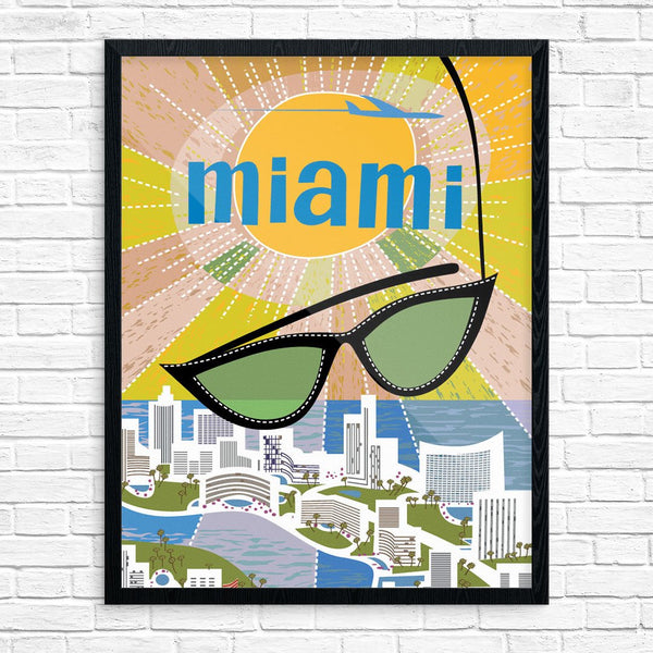 Miami Beach Sunglasses Travel Poster Print