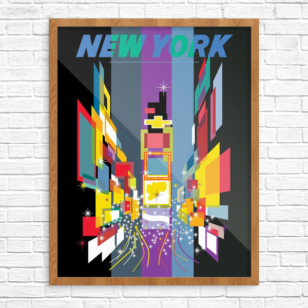 New York Times Square at Night Vintage Travel Poster Print