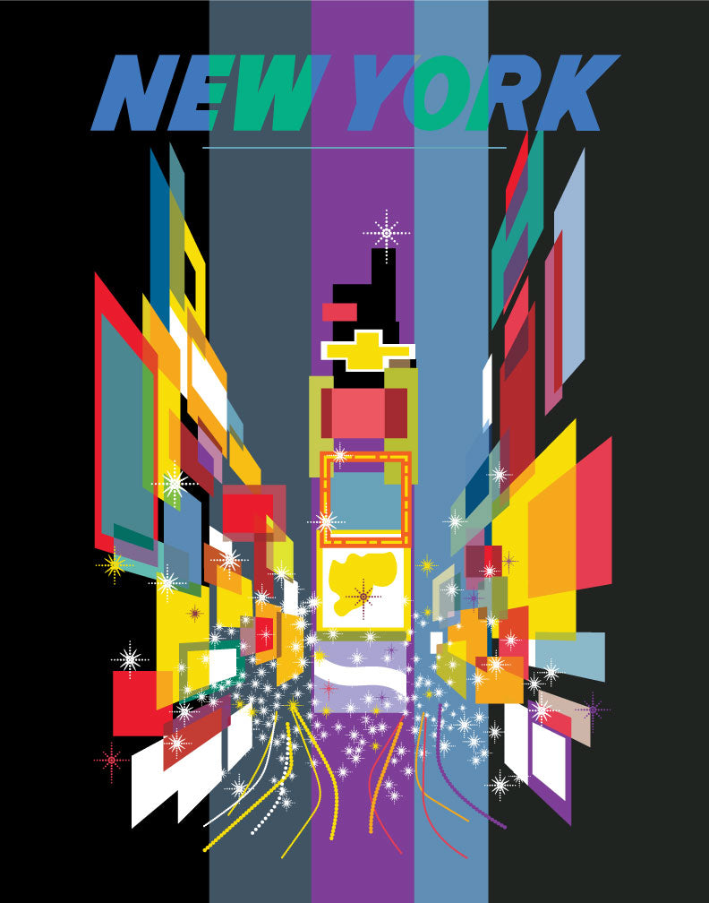 New York Times Square at Night Vintage Travel Poster Magnet