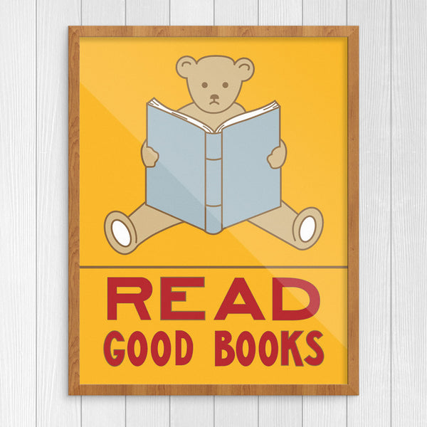 Read Good Books Teddy Bear 11 x 14 Print