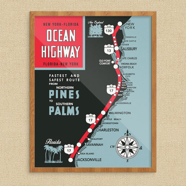 Ocean Highway New York to Florida Vintage Map Print
