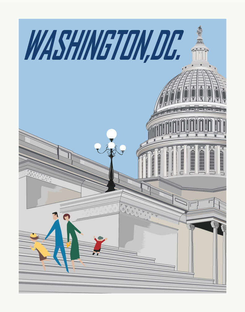 Family Visiting the US Capital Building Travel Poster Magnet