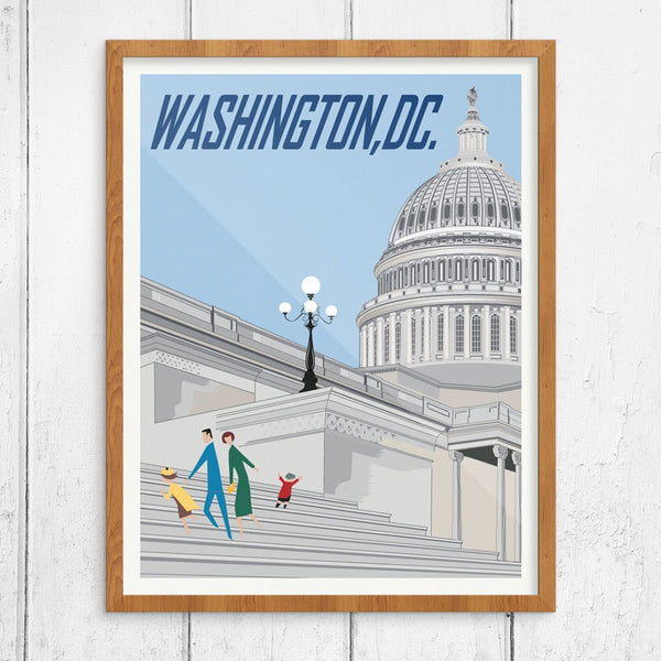 Family Visiting the US Capitl Building Travel Poster Print
