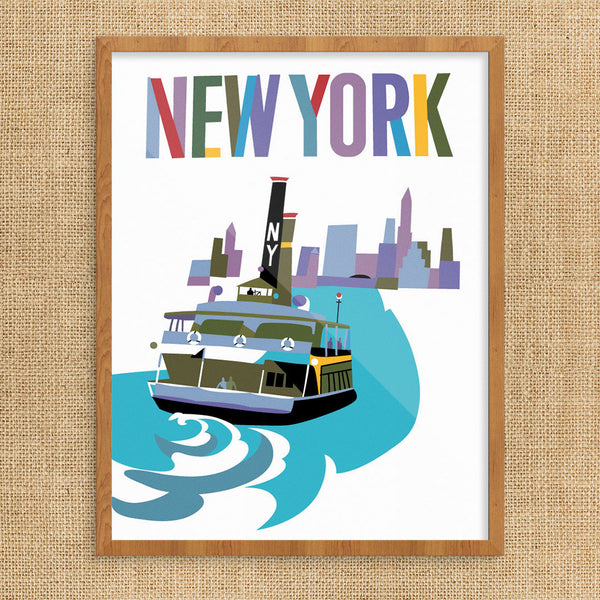 New York Staten Island Ferry & Skyline 11 x 14 Print