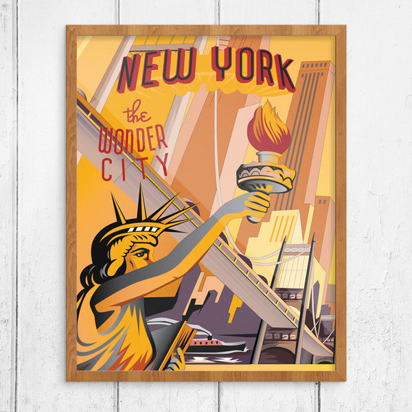 New York The Wonder City Bridges & Sights 11 x 14 Print