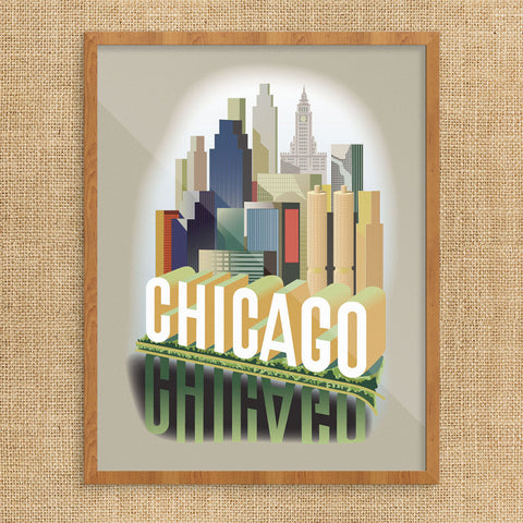 Chicago Skyline Reflections 11 x 14 Print